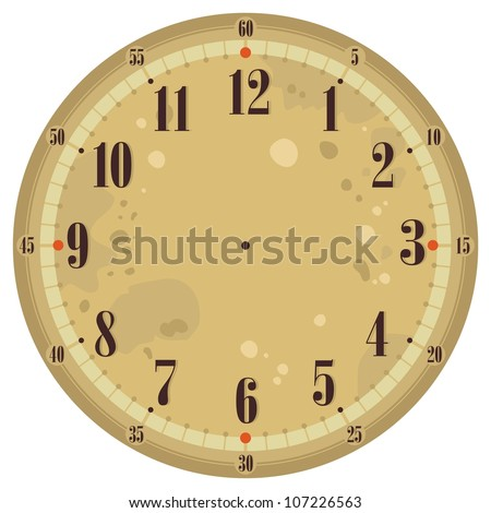 Vintage Clock Face Template Decorative Sun Stock Vector