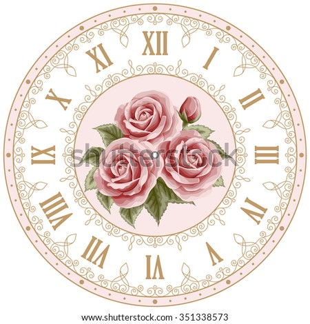 Vintage Clock Face Hand Drawn Colorful Stock Vector