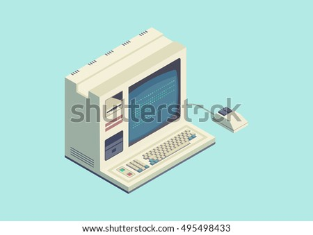 vintage computer machine Isometric vector