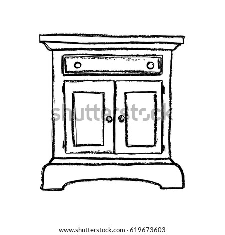 Vintage Cupboard Furniture Interior Design Elements Hand Drawn Charcoal Sketch Illustration Isolated
