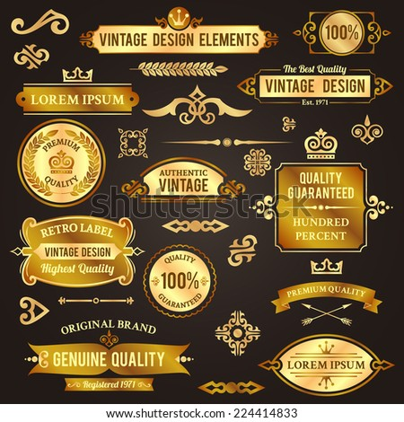 Vintage design elements golden luxury decorative set isolated vector illustration