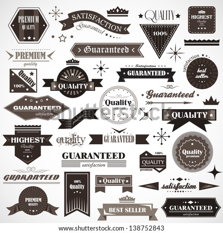 Vintage Design Elements. Labels In Retro And Vintage Style Isolated On Background. Vector Illustration, Graphic Design.Lot Of Elements Useful For Design. Logo Elements