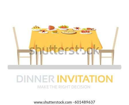 Dinner Table Background flat vintage dinner table many food stock vector 489305689
