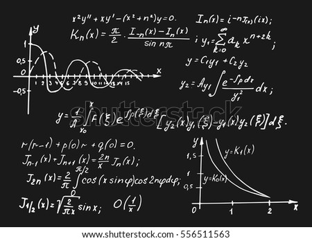 Vintage educational and scientific background.  Math law theory and mathematical formula equation on blackboard. Vector hand-drawn illustration. 10 EPS.