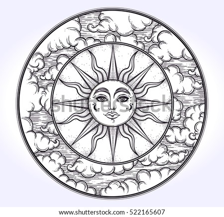 Vintage Elegant Handdraw Work Sun Night Stock Vector 522165616 ...