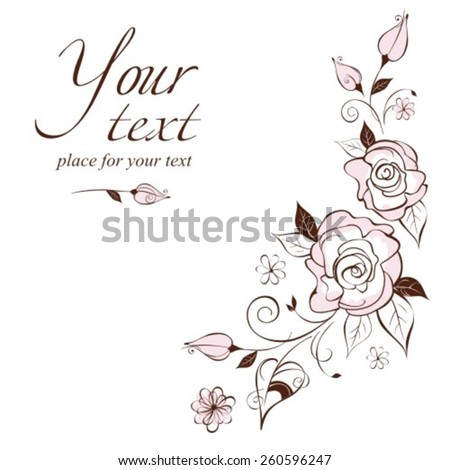 Vintage elegant wedding invitation with the stylized roses.Vector illustration.