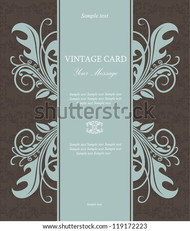 Vintage floral card. Vector illustration