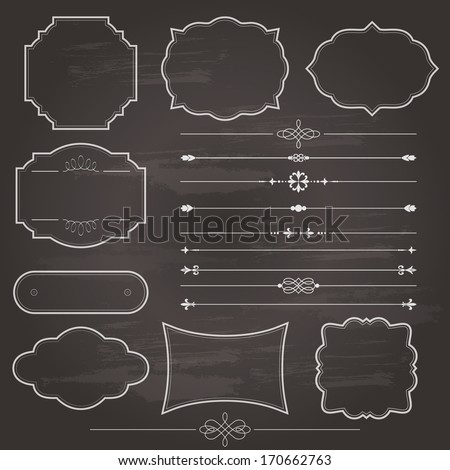Design Elements Set Drawn By Colored Stock Vector