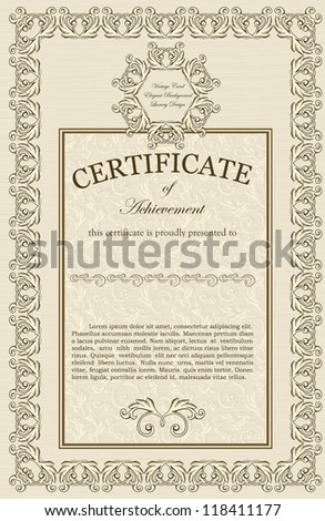 Vintage Certificate Award Background Gift Voucher Stock