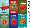 Vintage Fruit poster design set with fruit character. - stock vector