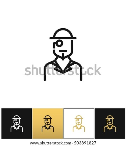 Vintage gentleman logo or retro hat man silhouette vector icon. Vintage gentleman logo or retro hat man silhouette program on black, white and gold background