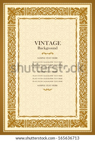 Vintage gold background, antique style frame, Victorian ornament, beautiful brochure, certificate, award's and diploma's  layout, book cover, floral luxury ornamental pattern, achievement template