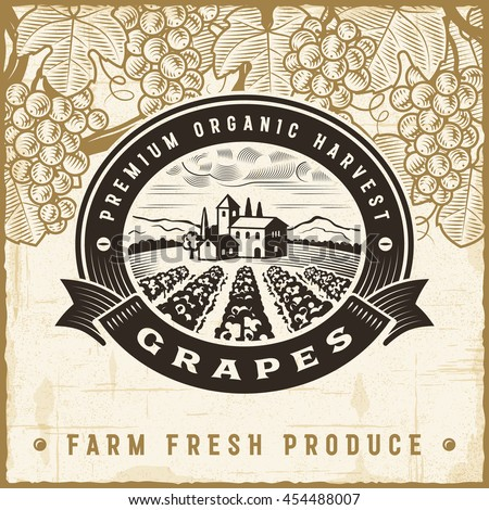 Vintage grapes harvest label. Editable EPS10 vector illustration in retro woodcut style with clipping mask and transparency.