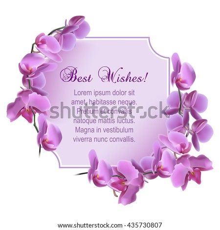 Vintage greeting card with blooming flowers, 'Best Wishes' wording and place for your text. Vector illustration