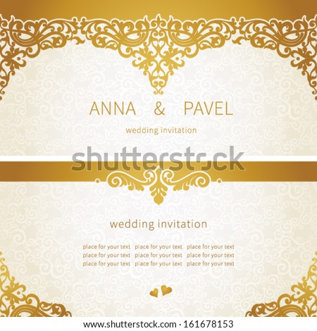 Vintage greeting card swirls floral motifs stock vector 161678186 vintage greeting cards with floral motifs in east style light gold background in persian style stopboris Gallery