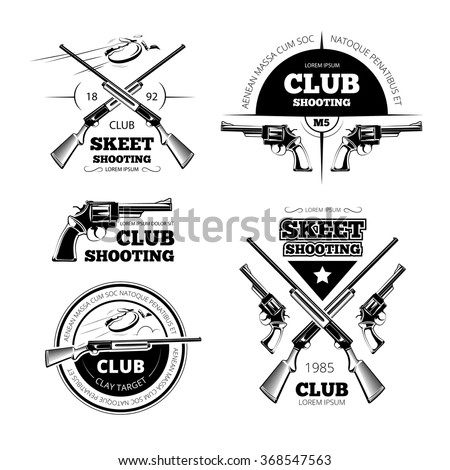 collection gun club emblems labels design stock vector