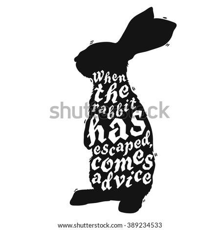 Silhouette Sitting Rabbit Vector Illustration Stock Vector ...