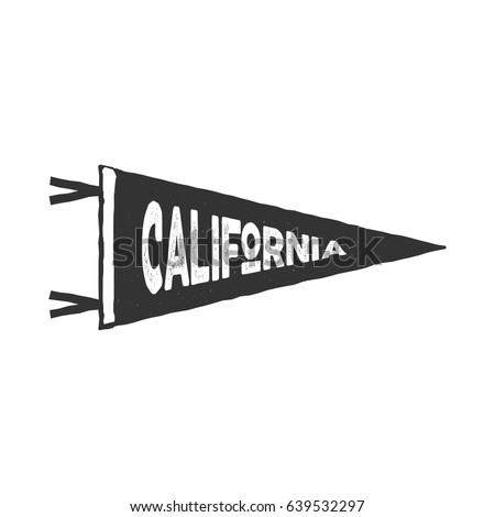 Vintage hand drawn pennant template california stock vector vintage hand drawn pennant template california sign retro textured letterpress effect outdoor pronofoot35fo Images
