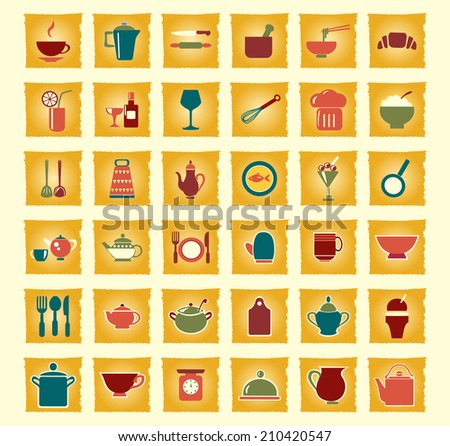 vintage  icons set kitchen ware - Illustration