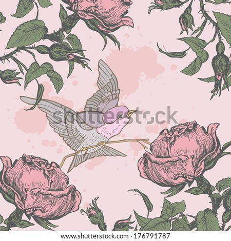 Vintage illustration of a bird in the roses.  Shabby chic flower background for you scrapbooking .  Illustration for greeting cards, invitations, and other printing and web projects.