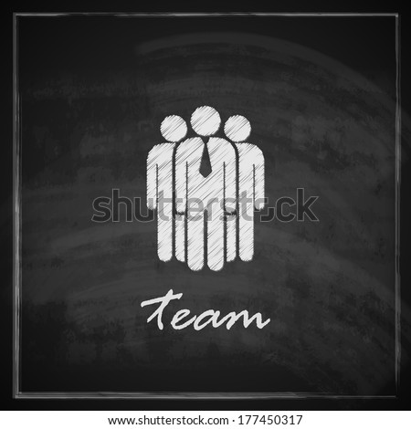 vintage illustration with business team symbol on blackboard background