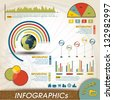 Vintage Infographic Design Collection, Charts and Histograms Infographics Elements Collection Histograms & Charts customizable to explain the growth of your business Retro Style. - stock vector