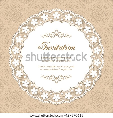 Vintage Invitation Template Lacy Doily On Stock Vector 427890613