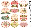 vintage labels with flower - stock