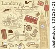 Vintage London doodles - stock vector