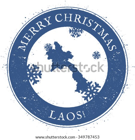 Vintage Merry Christmas Laos Stamp. Stylised rubber stamp with map of Laos and Merry Christmas text, vector illustration