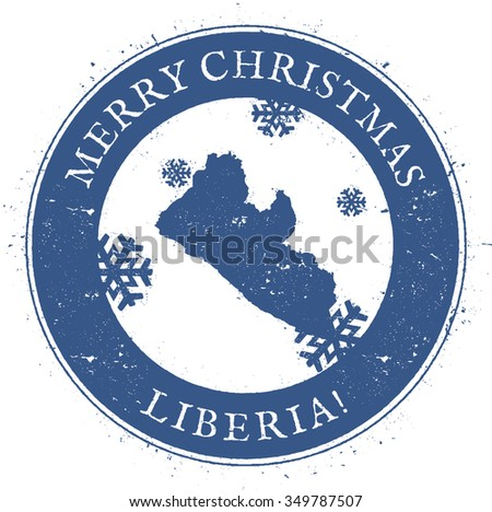 Vintage Merry Christmas Liberia Stamp. Stylised rubber stamp with map of Liberia and Merry Christmas text, vector illustration