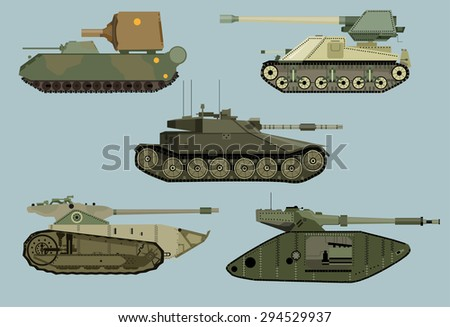 Vintage Military Transportation collection of vector  tanks.