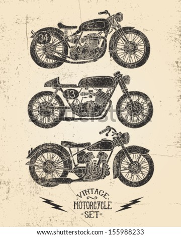 Vintage Motorcycle Set Stock Vector