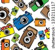 vintage multicolor film photo cameras vector seamless pattern - stock vector