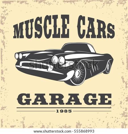 Vintage Muscle Car Emblem Stock Vector 258279188 - Shutterstock