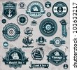 Vintage nautical set template - stock photo