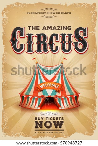 vintage circus poster big top illustration horizontal