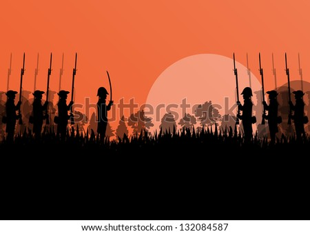 Vintage old civil war battle field warfare soldier troops and guns detailed silhouettes illustration landscape in countryside forest field background vector