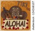 Vintage orange card - signboard tiki bar - with the image ukulele, drums and masks. eps10 - stock vector