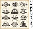 Vintage organic harvest stamps set. Fully editable EPS10 vector. - stock vector