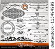 Vintage ornaments and dividers, calligraphic design elements and page decoration, exclusive, highest quality, retro style set of ornate floral patterns template - stock vector