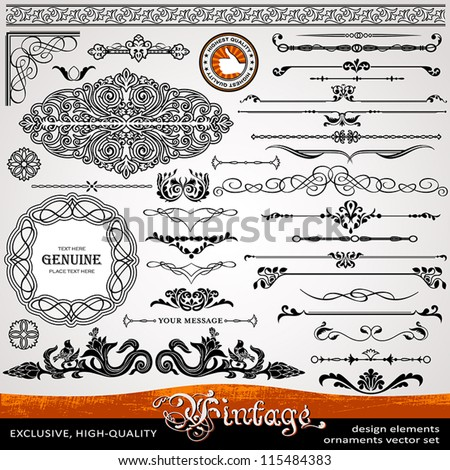 Vintage ornaments and dividers, calligraphic design elements and page decoration, exclusive, highest quality, retro style set of ornate floral patterns template