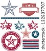 Vintage Patriotic Stars and Stripes Design Elements - stock vector