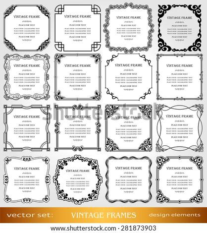 vintage photo frames set borders creative ornamental square frames retro design - Book Page Decorations