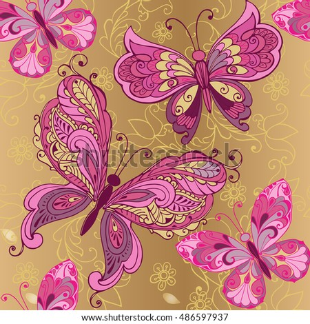 Pink vintage butterfly background - photo#42