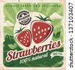 Vintage poster template for strawberry farm. Retro fruit label design. Vector old paper texture food background. - stock photo