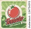 Vintage poster template for tomato farm. Retro vegetables label design. Vector old paper texture food background. - stock vector