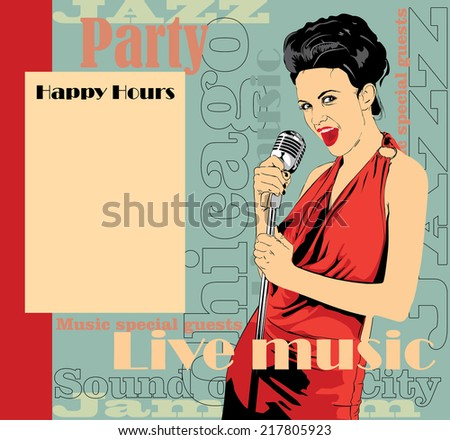 Vintage poster with lady singer