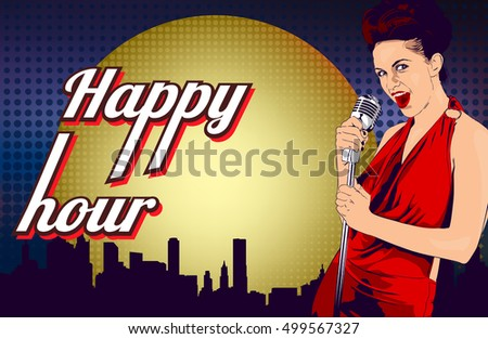 Vintage poster with woman singer and cocktail