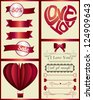 Vintage Red Valentine's Day page design elements isolated on light background - vector set - stock vector
